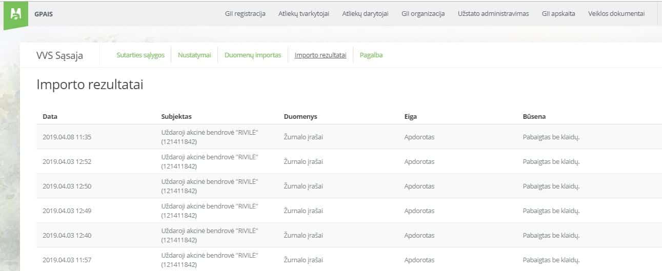 Rivile- GAPAIS Importo_rezultatai