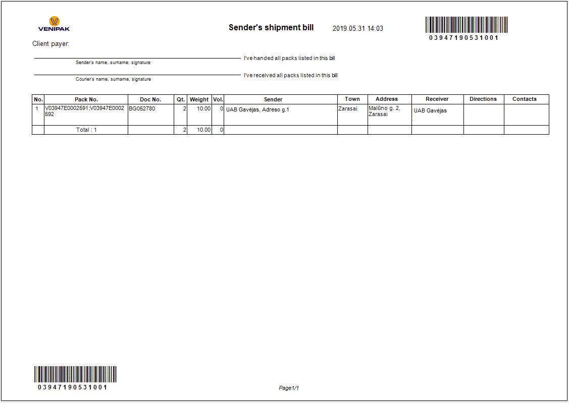 Venipak siuntėjo sąskaita