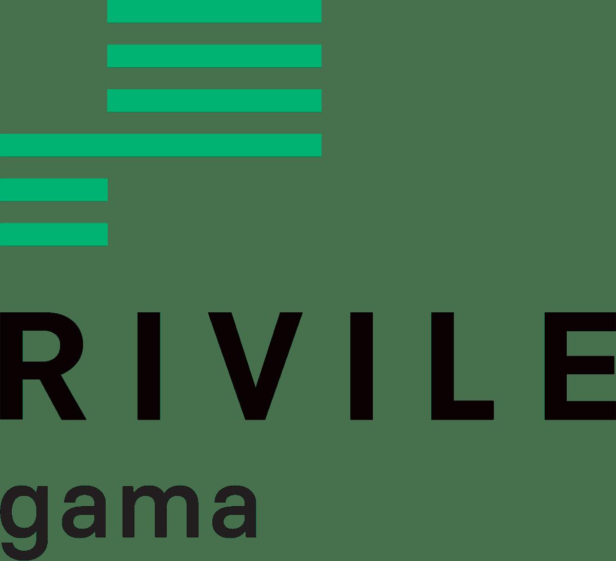 Rivile GAMA logotipas zalia juoda
